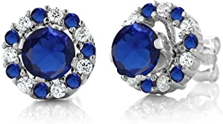 Gem Stone King Sterling Silver Round Blue Simulated Sapphire Stud Earrings with Removable Jackets (1.46 cttw)