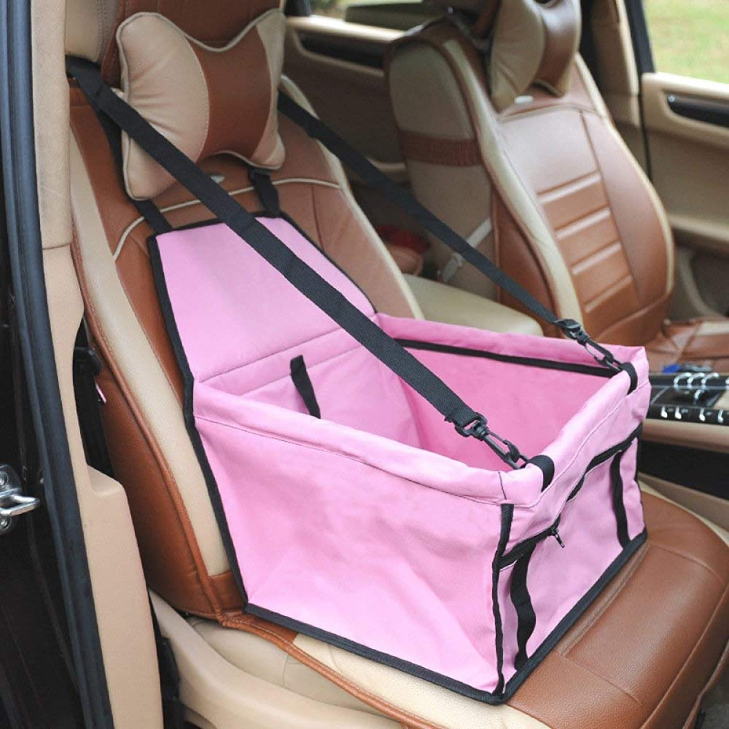 Pet Carrier Seat Dog Car Mat Car Pet Pad Double Thicker Front Car Seat Safety Bag Predection Seat Cover,Pink Pet Carrier Crate