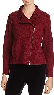 Eileen Fisher Womens Wool Long Sleeves Motorcycle Jacket