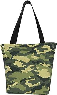 COOL-SHOW Olivgrüne Militär-Camouflage-Tasche aus Segeltuch, extra groß, mit Tragegriff, für Fitnessstudio, Strand, Wochenendausflüge, Reisen, Lebensmitteleinkäufe