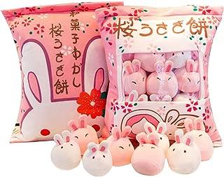 SHDZKJ Cute Bag of Cherry Blossom Bunnies Plush Toy Soft Throw Pillow Stuffed Animal Toys Creative Gifts Cute Room Decor