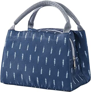 Waterproof Lunch Bag,Portable Lunch Bag,Multifunctional Reusable Folding Lunch Bag Waterproof Picnic Travel Handbag Small Insulated Lunch Box Tote Bags (Dark Blue)