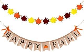 Fall Leaf Garland Backdrop Banner Maple Leaf Banner Happy Thanksgiving Banner Glitter Canadian Banner Decoration Fall Leaves Banner