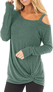Long Sleeve T Shirt Women Long Length Knot Front Loose O Neck Casual Solid Blouse Tops
