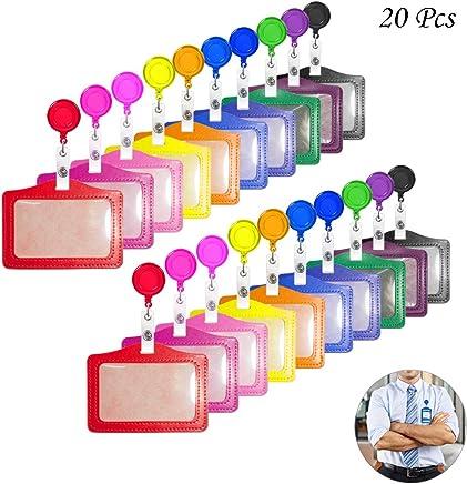 Creatiees 20 St�cke PU Leder Gesch�ft ID Kredit Karte Abzeichen Halter mit Skalierbar Abzeichen Halter Reel Clip (Horizontal Ausf�hrung)