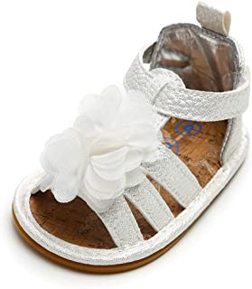RVROVIC Baby Girl Sandals - Soft Sole Infant Girl Summer Crib Shoes Princess Dress Flats