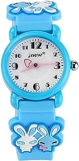 JIAN YA NA Children's Watch Waterproof 3D Cute Cartoon Design Round Dial Silicone Rubber Jelly Color Watch Band Xmas Gifts Quartz Wristwatch for Little Girls Boy Kids Children (Blue(Two Rabbits))