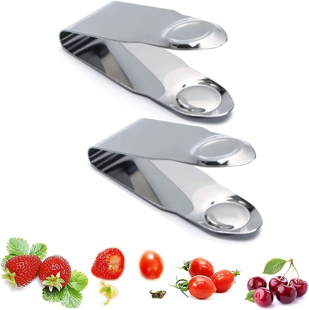 LIXIATIAN 2 Pack Stainless Steel Strawberry Re High material Huller Fruit Bombing new work Stem