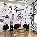 MGQSS Papier peint mural Salon de coiffure pour homme tendance européenne et américaine 3D Auto-adhésif fond d'écran affiche photo Accueil décoration chambre salon cuisine la télé coul(L)400x(H)280 cm