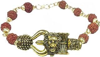 Utkarsh Unisex Stylish Adjustable Brown Beads Rudraksha Mala Chain Animal King Roaring Lion Head Om Mahadev Bolenath Mahak...