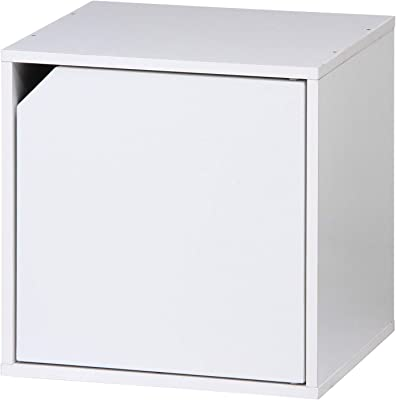 不二貿易 キューブボックス 扉付き ホワイト 幅34.5cm 組み合わせ自由 81907