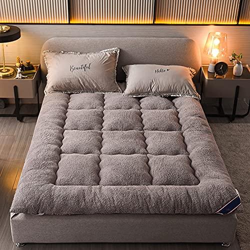 Nwanfeng Thicken Warm Futon Mattress, Lamb Cashmere Tatami Mattress Tri-fold Mattress Pad Ultra Soft Folding Mattress Living Room Bedro,Gray,150x200cm(59x79inch)