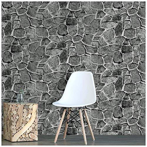 HaokHome 620394 Faux Rock Stone Peel and Stick Wallpaper Gray Self Adhesive Contact Paper