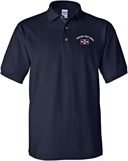 Custom Text Embroidered Dominican Republic Men's Adult Button-End Spread Short Sleeve Cotton Polo Shirt Golf Shirt - Navy, X Large
