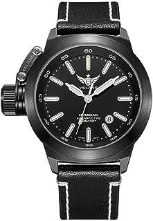 YuYaX Watch - Reloj Mecánico Automático. Reloj para Hombres. Turbina Izquierda. Dispositivo De Protección De La Corona. 100 M. Impermeable. Zafiro Sintético. Espejo Azul, Black