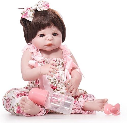 QXMEI Wiedergeburt Puppe 55cm Simulation Baby Puppe Silikon Kinder Spielzeug Braune Augen,A