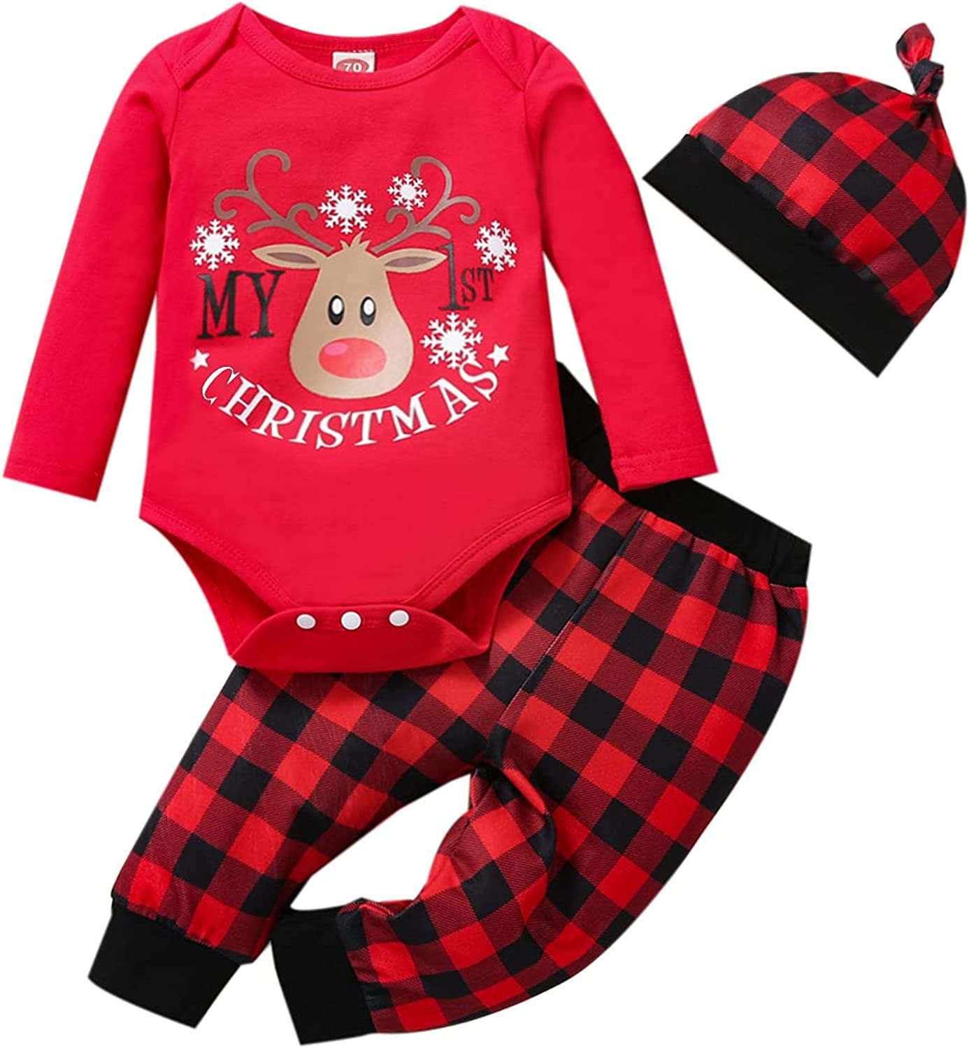 My 1st Christmas Newborn Infant Baby Boy Outfits Clothes Set
