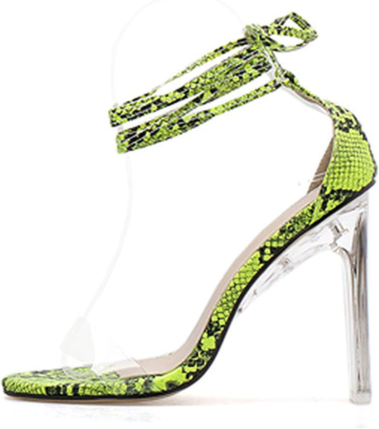 HuangKang Ankle Lace Up Women Sandals Transparent Square Heels Green Serpentine Ladies Summer Party Wedding shoes