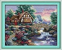 クロスステッチ刺繍キット 図柄印刷 初心者 ホームの装飾 刺繍糸 針 布 11CT Cross Stitch ホームの装飾 美しい家 40x50cm