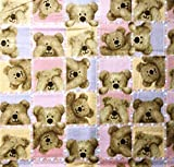 1/2 Yard - Teddy Bear'Peek A Boo' Pink Squares Flannel Fabric (Great for Quilting, Sewing, Craft Projects, Blankets, Throw Pillows & More) 1/2 Yard x 44'