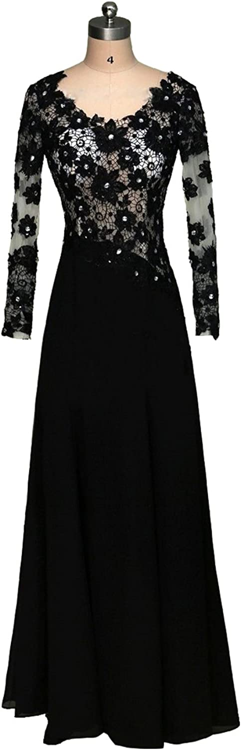 Menoqo Sexy Black Lace Aline Party Evening Prom Dresses Long Sleeve Formal Gown