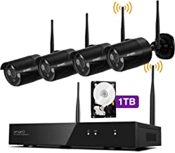 [Audio Compatible & H.265] xmartO 8CH 1080p HD Wireless Surveillance Camera System 1TB with 4pcs 1080p HD Day Night WiFi C...