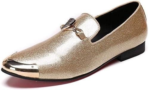 Rui Landed Oxford para el Hombre zapatos Formales Slip On Style Cuero Genuino Delicado Metal Luxury Shiny Metal Toe Discoteca (Color   blancoo, tamaño   39 EU)