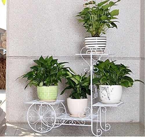 ILQ Pots de fleurs d'intérieur de plusieurs étages Pots de fleurs de radis vert radiés,65 * 68.5cm,blanc