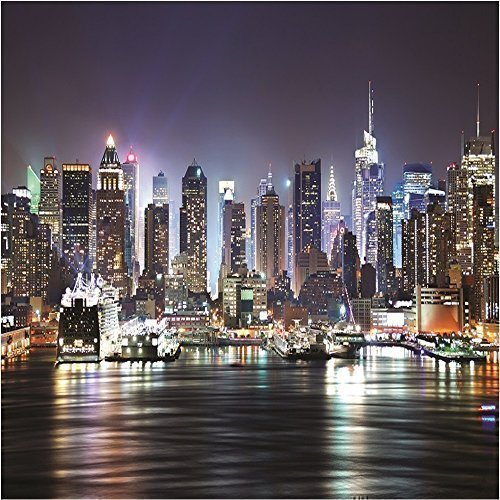 Giant Photo Wallpaper New York City By Night Skyline Ny Wall Mural 3 35 X 2 36m Amazon Co Uk Kitchen Home