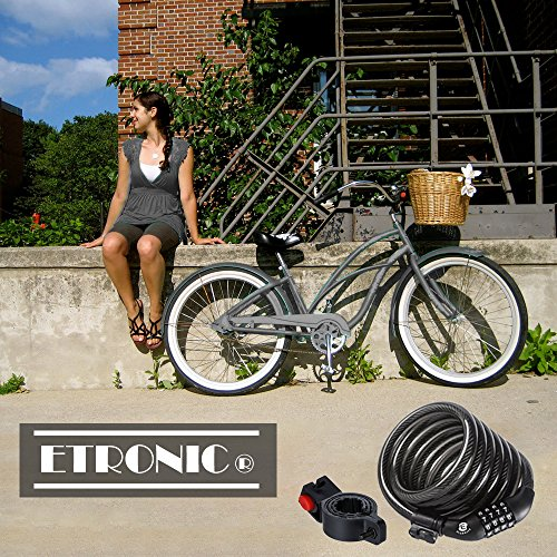 Etronic Security Bike Lock M6 Self Coiling Resettable Combination Lock