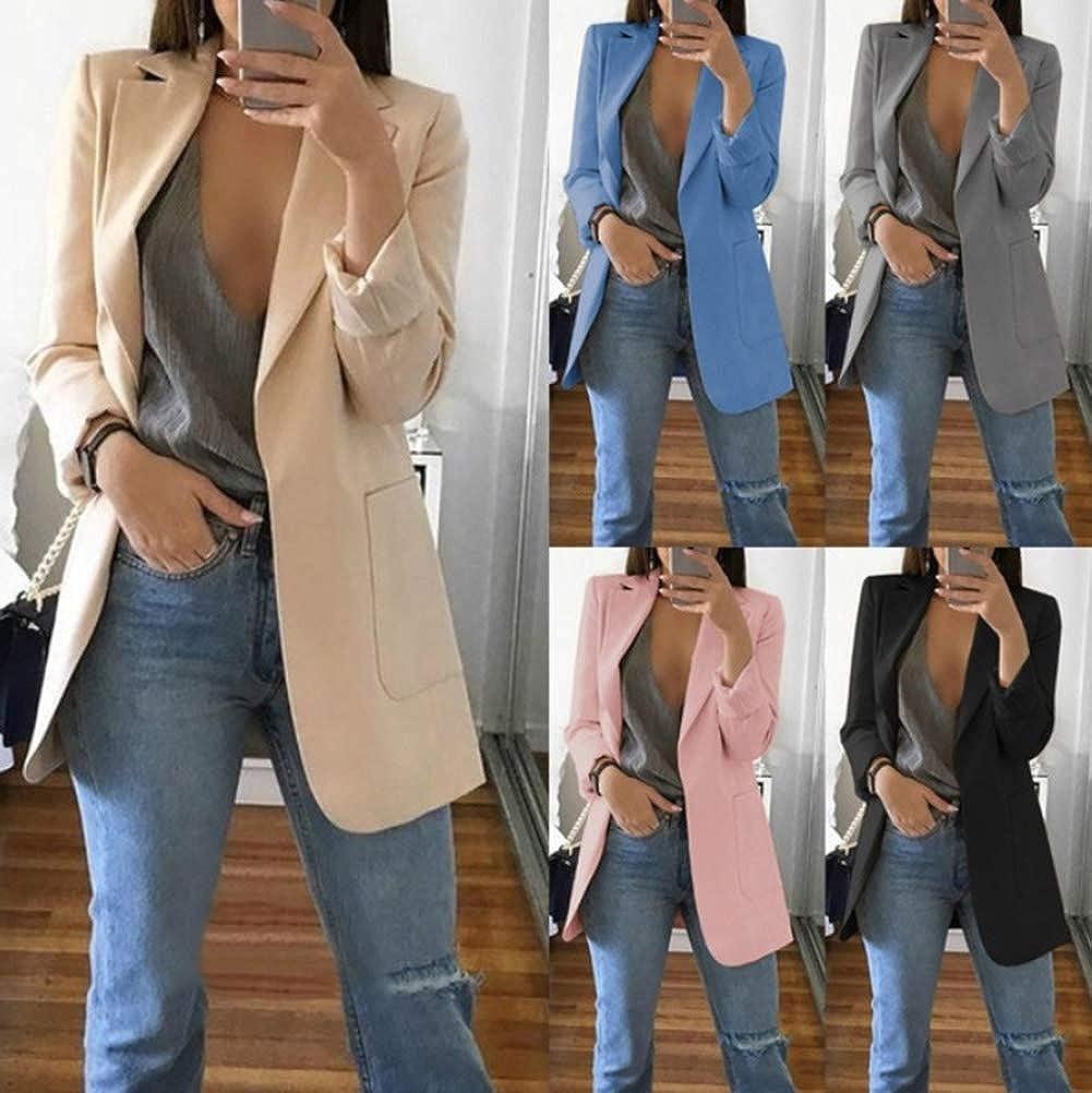 Minetom Damen Elegant Langarm Blazer Sakko Einfarbig Slim Fit Revers Geschäft Büro Jacke Kurz Mantel Anzüge Bolero mit Tasche A Aprikose