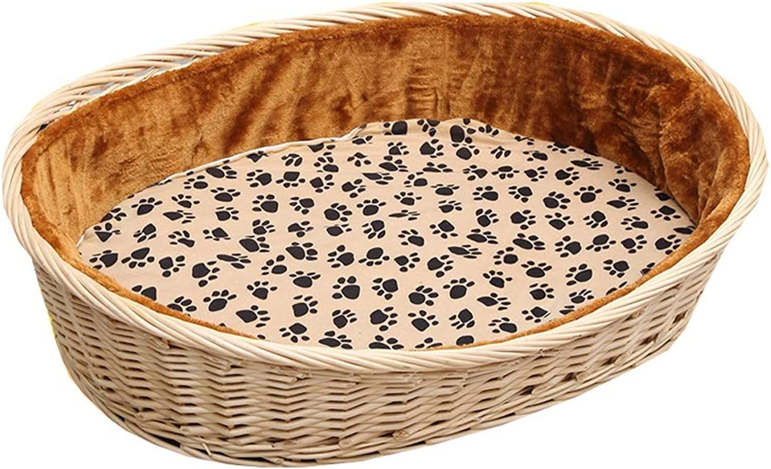Nesting Dog Cave Bed Rattan Dog Basket Dog Pet Nest Padded Bed Bolster Bed for Indoor & Outdoor Use With Cotton and Bamboo Mattress (color   C, Size   93X67X19X29CM)