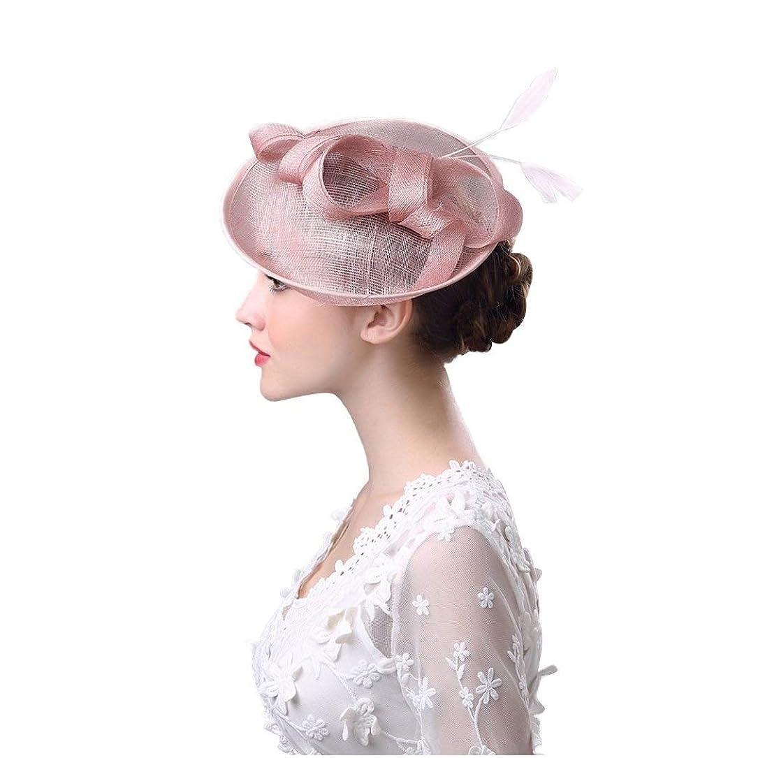 枝彫刻勝利ブライダルヘッドドレス、ボウフェザーヘッドドレス夏ヨーロッパとアメリカのアウトドアレディース帽子洋風リネン糸宴会花嫁の帽子
