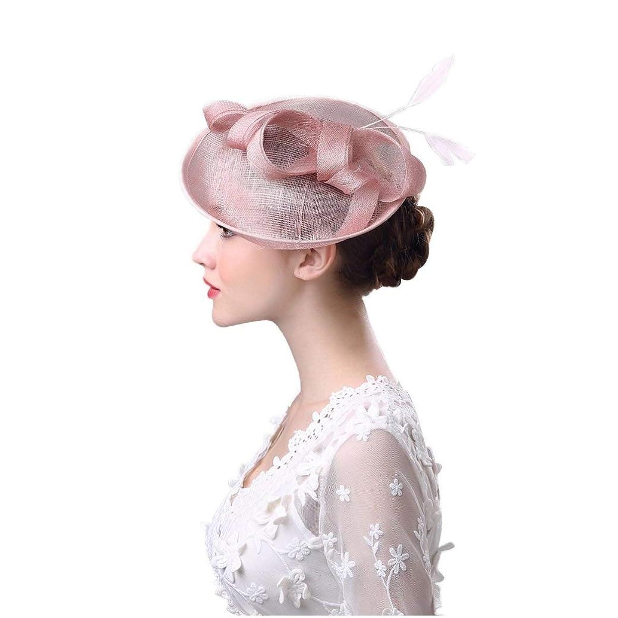 解放瞬時に約ブライダルヘッドドレス、ボウフェザーヘッドドレス夏ヨーロッパとアメリカのアウトドアレディース帽子洋風リネン糸宴会花嫁の帽子
