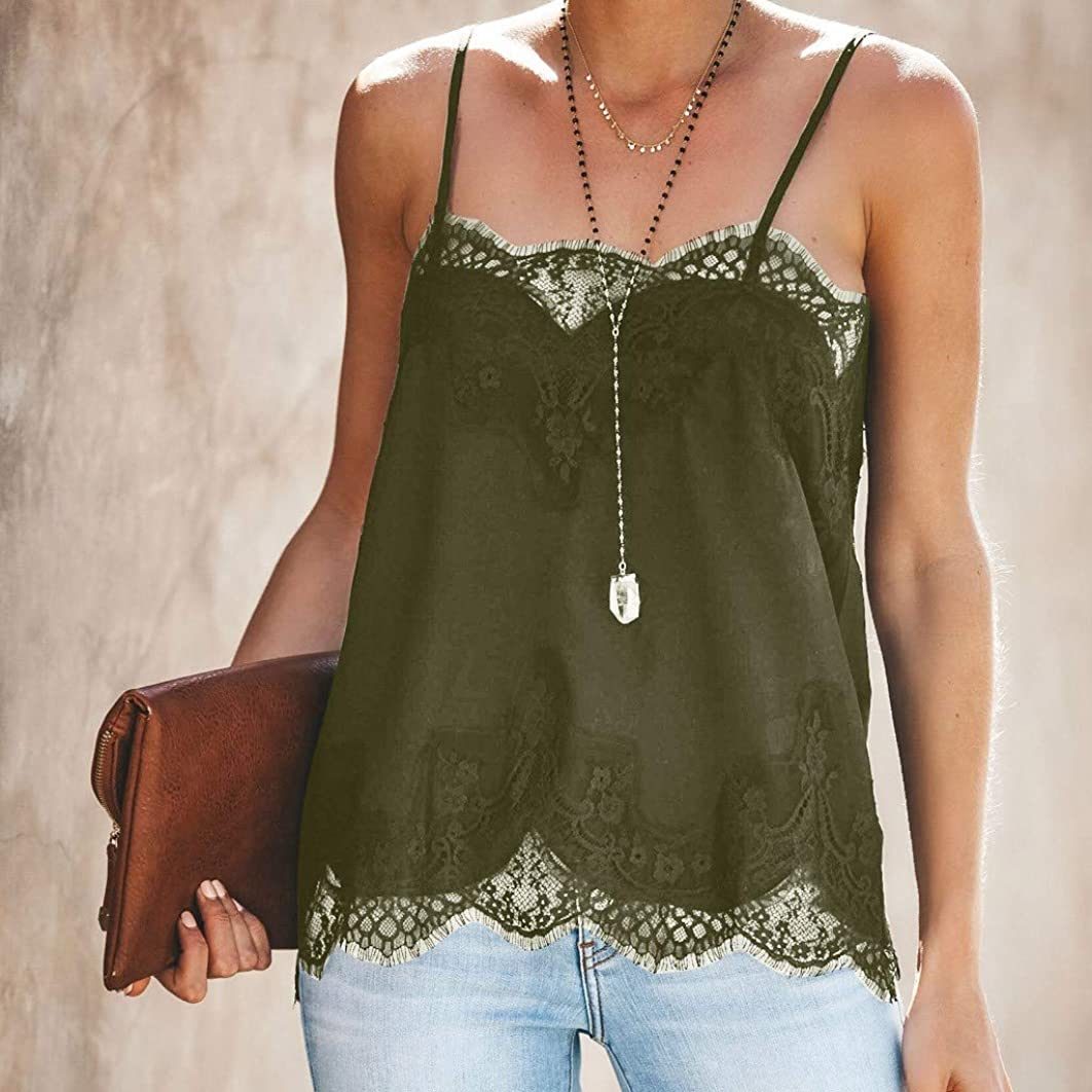Fashion Women Strappy Vestless Lace Patchwork Blouse Tank Loose Top T-Shirt Blouse Chiffon Printed Short Sleeve Tunic
