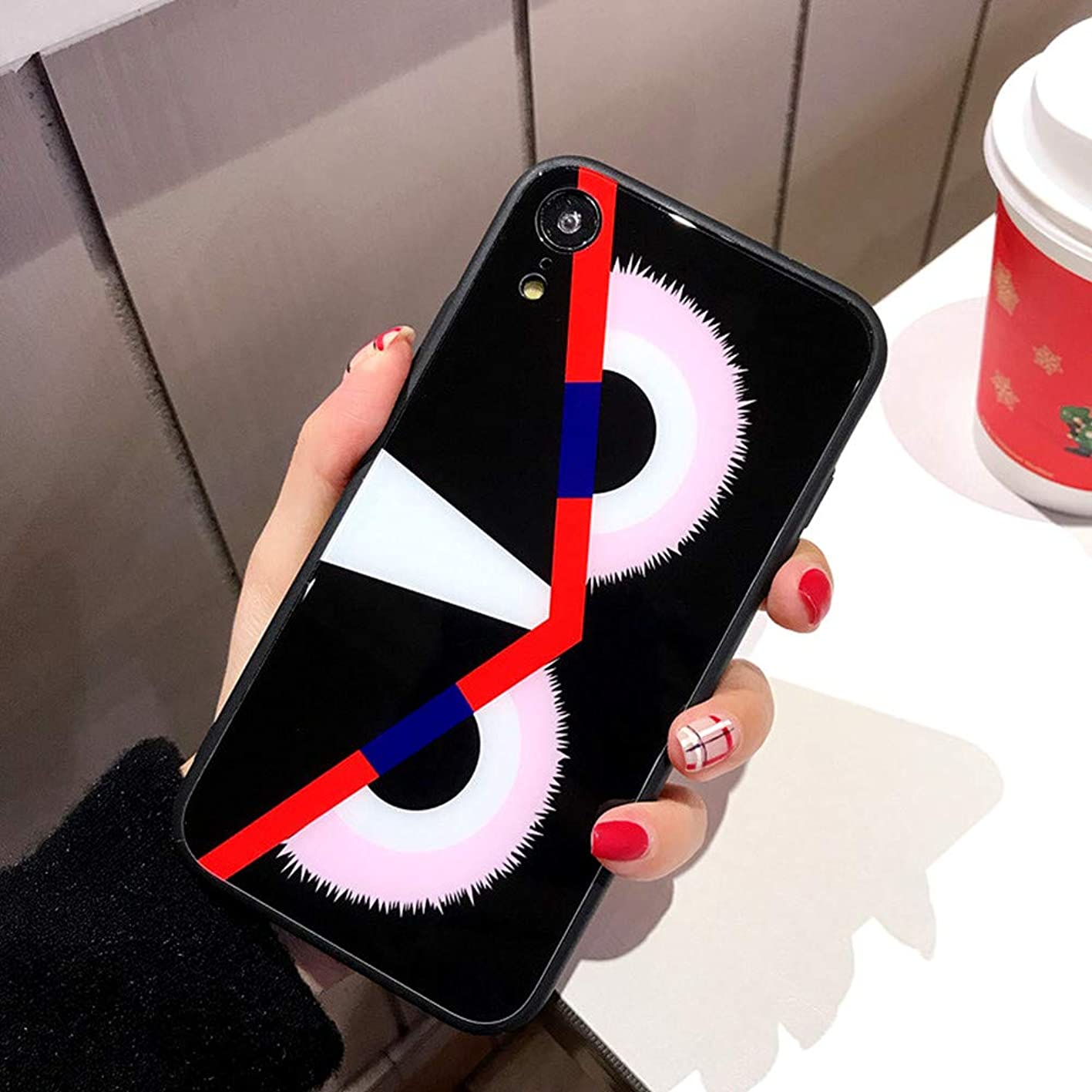 Tempered Glass iPhone-Xr Case,Mirror Glossy Anti Fingerprint Top Feeling TPU Bumper Frame Protective Case for 6.1 iPhone Xr,Street Fashion iPhone-Case Designer Hard Phone Cover(Owl Eye) ljxdoxrcyac866