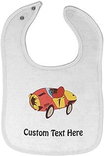 Custom Baby Bibs Burp Cloths Race Car Cotton Baby Items for Baby Girl & Boy White Custom Text Here