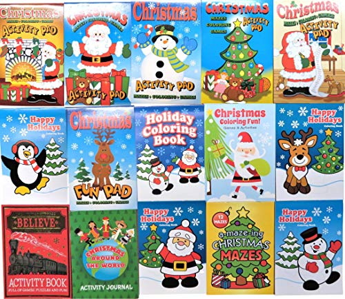 Christmas Winter Kids Coloring & Activity Books Assortment - 15pc - Children