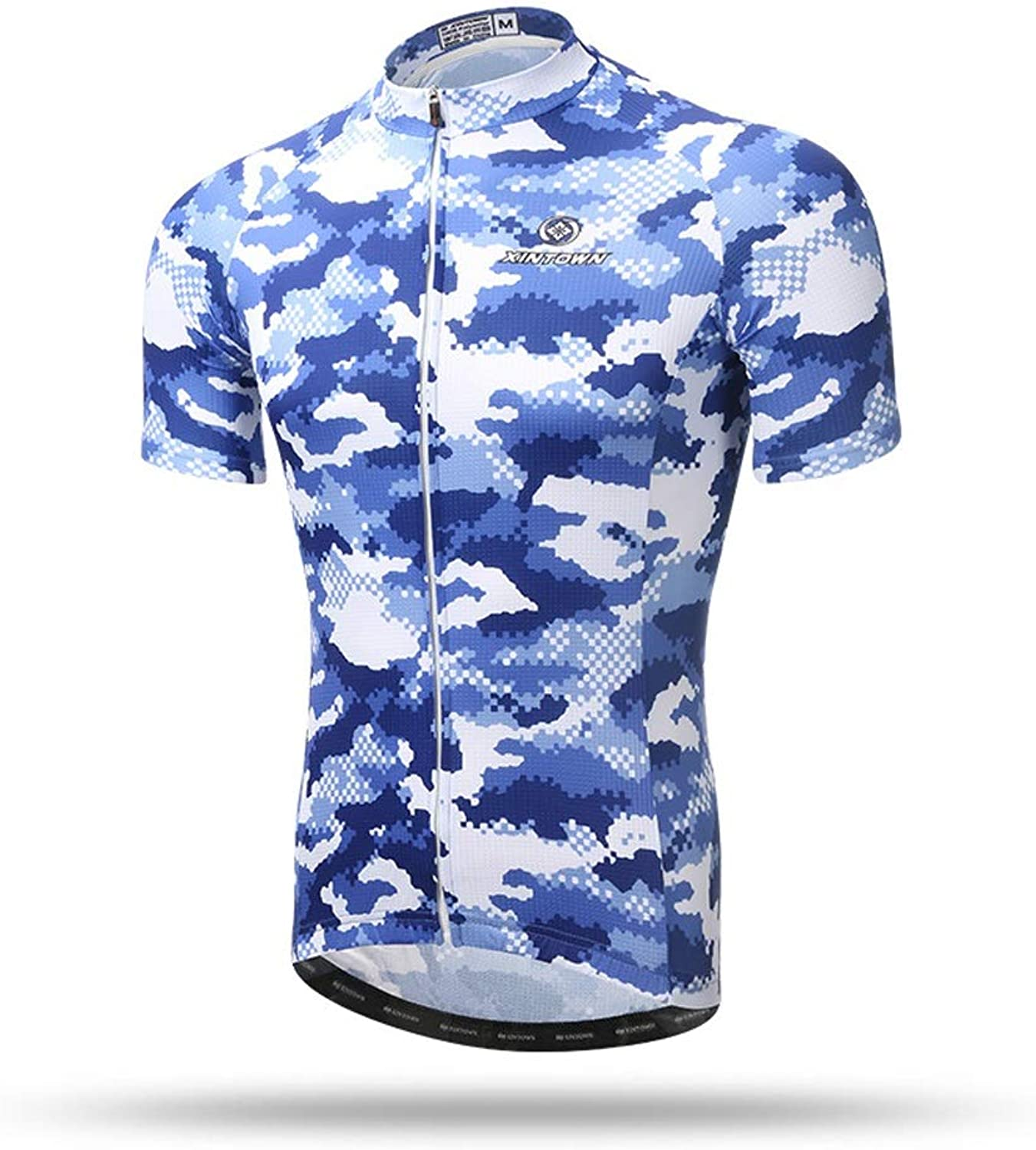 Unkoo Top Best Camouflage Men's Cycling Jerseys Tops Biking Shirts Short Bike Clothing Full Zip Bicycle Jacket with Pockets Jersey Sleeves Mountain Shirt MTB Top Zipper Reflective