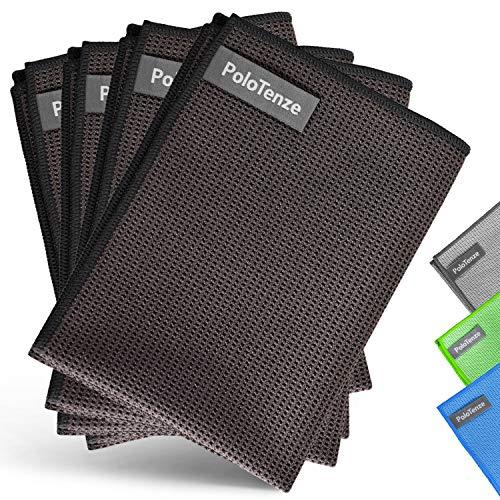 PoloTenze Premium Mikrofaser Trockentuch Waffeltuch | 40x60 cm | für Auto, Glas, Küche, Geschirr, Bad uvm. | (Taupe, 4er Pack)