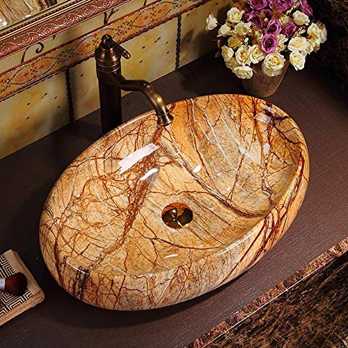 Best Price Bathroom Vessel Sink Bathroom Rainforest Brown Stone Oval Porcelain Above Counter Vessel Sink for Lavatory Vanity Cabinet Contemporary Style for Lavatory Vanity Cabinet
