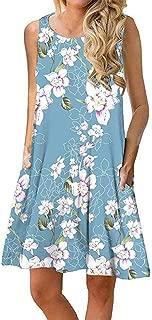 Qiyun Women Summer Printing Loose Waist Round Collar Sleeveless Dress