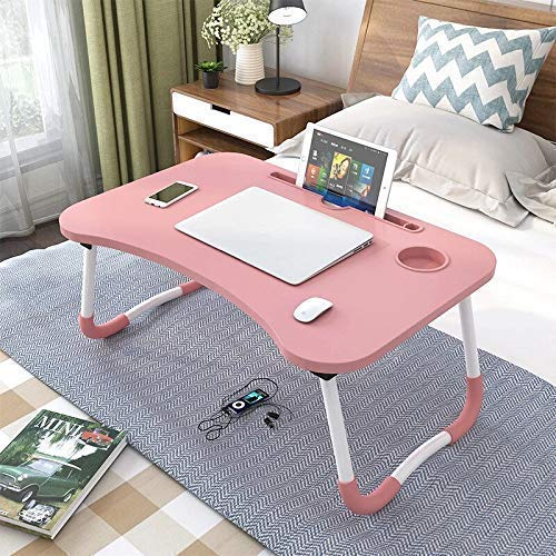 zankos Portable Multifunction Foldable Bed Study/Laptop Table/Lapdesk with Tablet Slot and Cup Holder for Children, Office, Gaming, Home Gold (Pink)