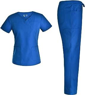 2-Pocket Notch Neck Women Nursing Scrubs Set - Pandamed Nurse Scrubs Medical Uniforms Workwear Set for Women JY3302
