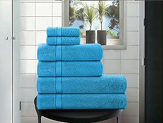 6pcs Bath Towels Pure 100% Cotton, Bath Towels & Hand Towels Set, Extra Soft Highly Absorbent 600 GSM Bathroom Towel, Towe...