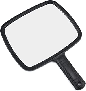 TRIXES Hand Mirror with Handle in Black for Hairdressers Salons and Barbers