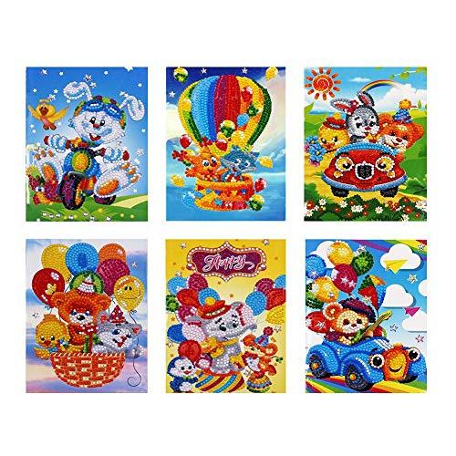 Prosperveil Handgefertigte Grußkarten DIY spezielle Form Diamant Malkarten Kit mit Blanko Umschlägen für Weihnachten, Halloween, Geburtstag, Kinder Basteln Geschenk 6 Pack Greeting Cards