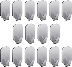 Labkiss 3 M Adhesive, Super Power Heavy Duty J, Drill, NO Mark, Waterproof, Wall Mount Hooks for Coat Towel Robe Key, Design for Hotel Bedroom Bathroom Kitchen Cabinet Shower, 16 Pack, Wide