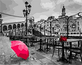 Painting by Numbers DIY Oil Painting for Adult Red, Umbrella, Gray Building, Castle, Landscape Canvas Print Wall Art Decor...