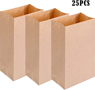Yaomiao 25 Pieces Lunch Bags Small Kraft Bags Paper Brown Sack for Food Package